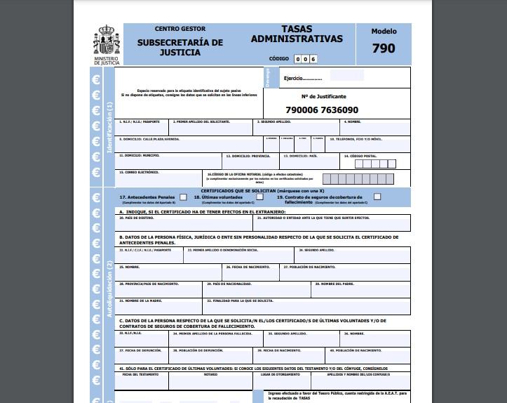 Modelo 790 006 codigo de seguros